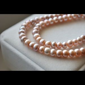 Pink Freshwater Button Pearl Necklace, 6.5-7.0mm